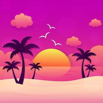Coucher de soleil de vacances d'été
