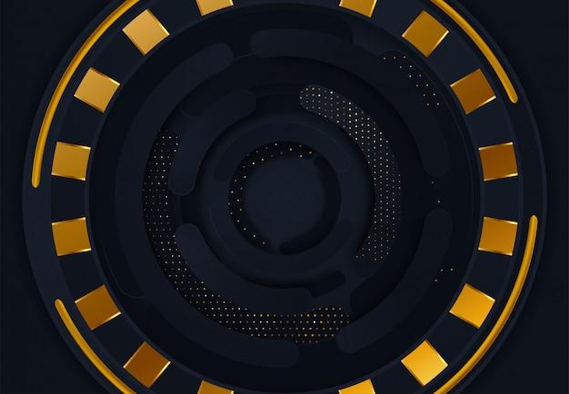 Couches abstraites de cercles noirs sur fond sombre