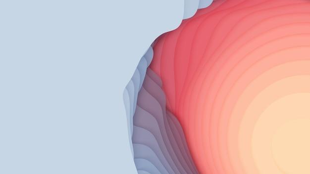 Couches de papier rouge à bleu. papercut dégradé abstrait 3d.