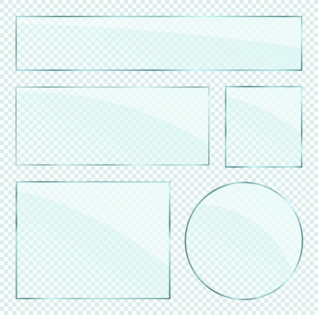 Couches de plaques de verre réalistes sur fond alpha transparent
