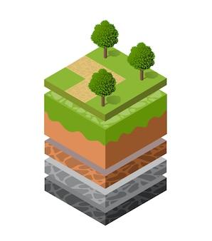 Couches de sol géologiques et souterraines sous la tranche isométrique du paysage naturel