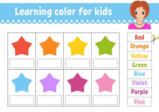Couleur d'apprentissage pour les enfants. feuille de travail pour le développement de l'éducation. étoiles de couleur. page d'activité avec photos en couleur.