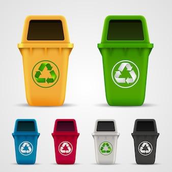 Couleur de l'art de la poubelle écologique. illustration vectorielle