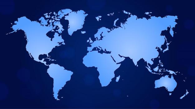 Couleur bleue dégradée de carte du monde plat