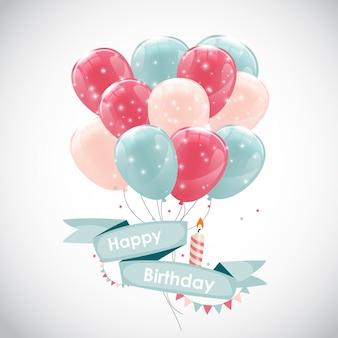 Couleur brillant joyeux anniversaire ballons bannière fond il