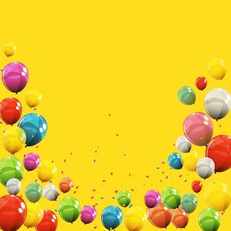 Couleur brillant joyeux anniversaire ballons bannière fond