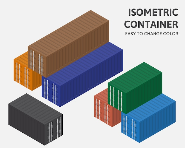 Couleur de changement facile de vecteur d'isométrique de boîte à conteneurs