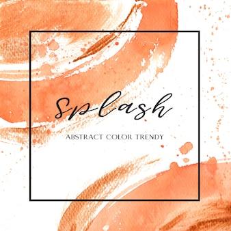 Couleur de corail trendy coquillage aquarelle et or texture de gouache