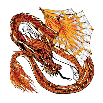 Couleur de croquis de dragon