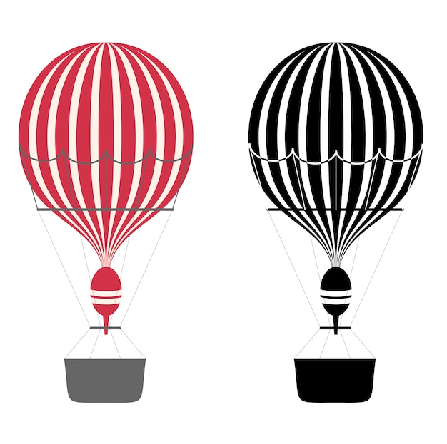 Couleur de dessin animé et ballons à air noir et blanc. montgolfières. aérostat sur fond blanc. .