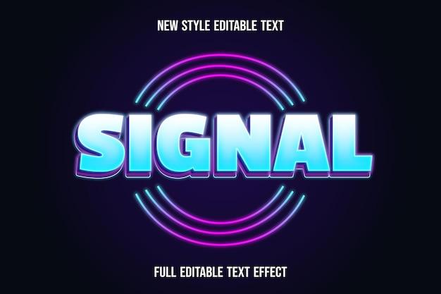 Couleur du signal d'effet de texte modifiable blanc et bleu