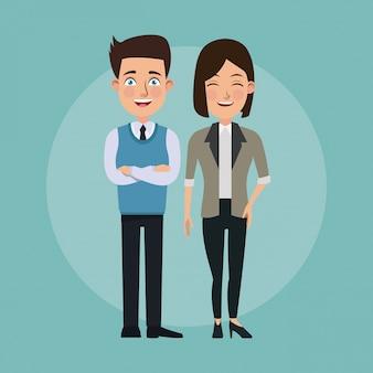 Couleur fond plein corps couple de femme clin d'oeil yeux et homme avec des caractères de costume formel pour les entreprises