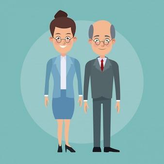 Couleur fond plein corps couple de femme recueilli coiffure et homme chauve âgé avec des caractères de costume formel pour les entreprises