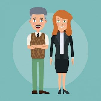 Couleur fond plein corps couple de jeune femme et homme chauve âgé avec des caractères de costume formel pour les entreprises