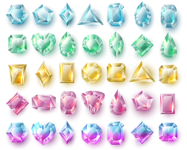 Couleur des gemmes taillées, des brillants naturels. ensemble de vecteur de pierres précieuses et diamants isolé. pierre brillante, diamant précieux illustration précieuse