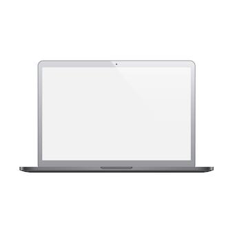 Couleur gris ordinateur portable avec écran blanc isolé sur fond blanc