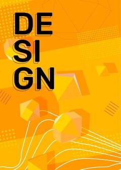 Couleur jaune vif créatif illustration verticale affaires abstrait avec forme