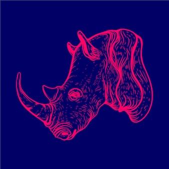 Couleur de lueur d'art de ligne de tête de rhinocéros