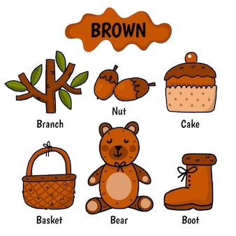 Couleur marron avec vocabulaire en anglais