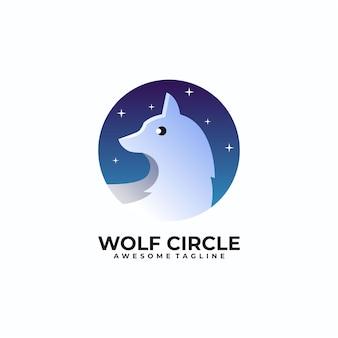 Couleur moderne de modèle de conception de logo de cercle de loup