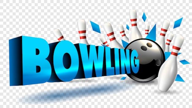 Couleur de mot de bowling bleu.