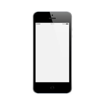 Couleur noire de smartphone avec écran tactile blanc isolé sur fond blanc. maquette de téléphone mobile réaliste et détaillé
