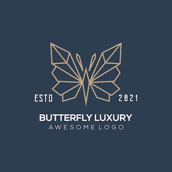 Couleur or d'illustration de logo de ligne de papillon de luxe pour l'entreprise