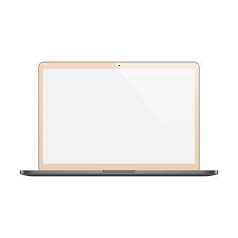 Couleur or pour ordinateur portable avec écran blanc isolé sur fond blanc. illustration de stock