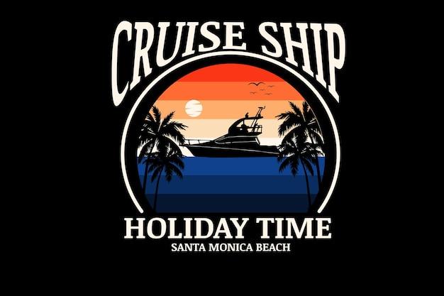 Couleur orange et bleu de temps de vacances de bateau de croisière
