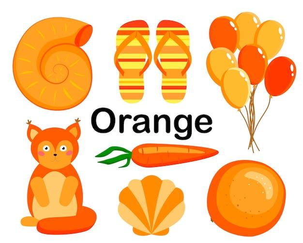 Couleur orange. la collection comprend des tongs, des carottes, des écureuils, des boules, des oranges, des coquillages.
