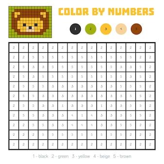 Couleur par numéro, jeu éducatif pour enfants, lion