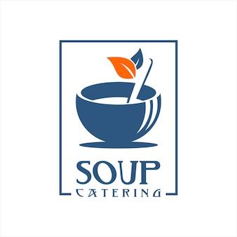 Couleur plate de conception de logo de soupe de poulet