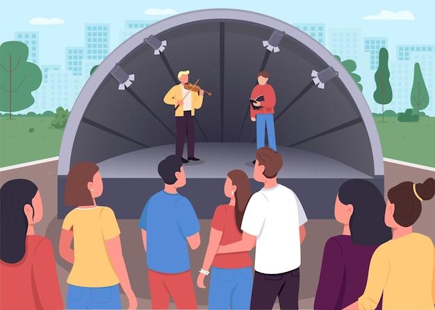 Couleur plate de concert de musique en direct. montrer vos compétences musicales dans le parc à tout le monde. créer une belle mélodie. interprètes personnages de dessins animés 2d avec ville