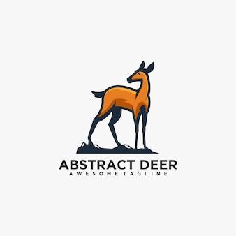 Couleur plate de vecteur de conception de logo abstrait de cerf