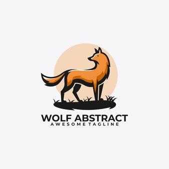 Couleur plate de vecteur de conception de logo abstrait de loup