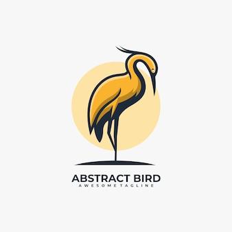 Couleur plate de vecteur de conception de logo abstrait d'oiseau