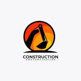 Couleur plate de vecteur de conception de logo de construction