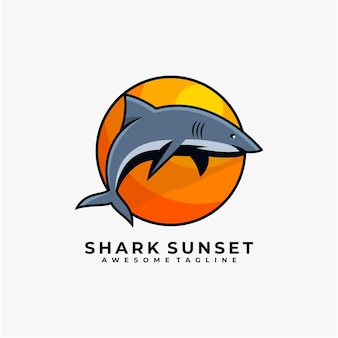 Couleur plate de vecteur de conception de logo de coucher du soleil de requin