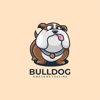 Couleur plate de vecteur de conception de logo de dessin animé de bouledogue
