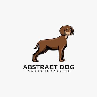 Couleur plate de vecteur de conception de logo de dessin animé de chien