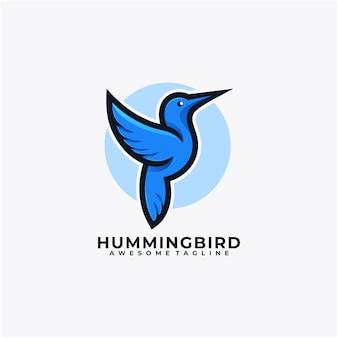 Couleur plate de vecteur de conception de logo de dessin animé de colibri