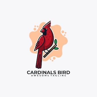 Couleur plate de vecteur de conception de logo de dessin animé d'oiseau