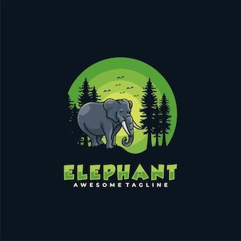 Couleur plate de vecteur de conception de logo d'éléphant