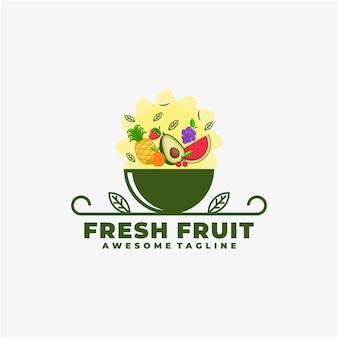 Couleur plate de vecteur de conception de logo de fruits frais