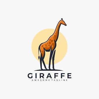 Couleur plate de vecteur de conception de logo de mascotte de girafe