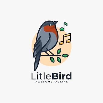Couleur plate de vecteur de conception de logo de musique d'oiseau