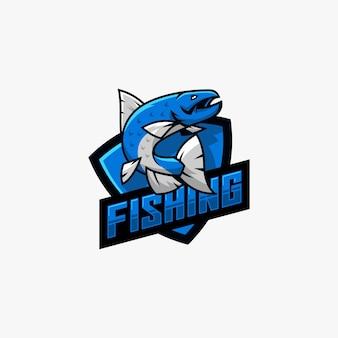 Couleur plate de vecteur de conception de logo de poisson
