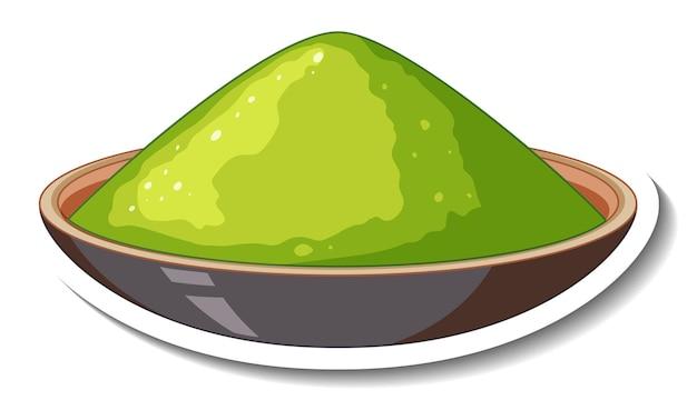 Couleur de poudre verte dans un bol sur fond blanc