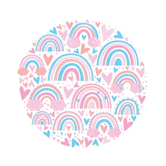 Couleur rose motif arc-en-ciel mignon