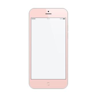 Couleur rose smartphone avec économiseur d'écran tactile blanc sur blanc.